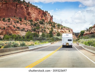 Camper on the road to Bryce canyon, USA, motorhome trailer
