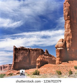 Camper on its way in Arches National Park USA