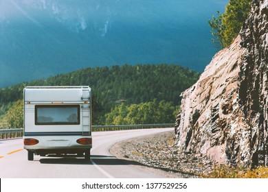 Camper road trip in Norway RV trailer summer vacations traveling family journey van life weekend caravan camping