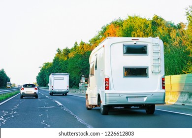 Camper rv in the road in Slovenia.