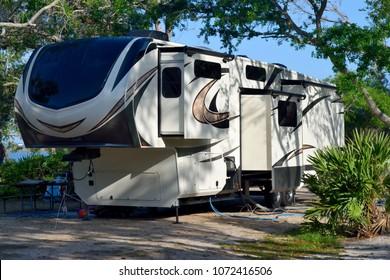 Camper trailer at camp site