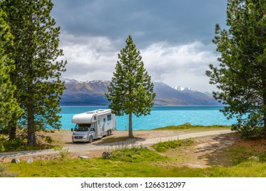 Camper van at Lake Pukaki, New Zealand.