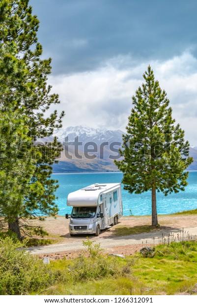 Camper van at Lake Pukaki, New Zealand.