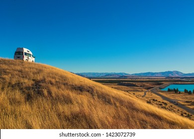 Camper van near the Pukaki Lake - New Zealand