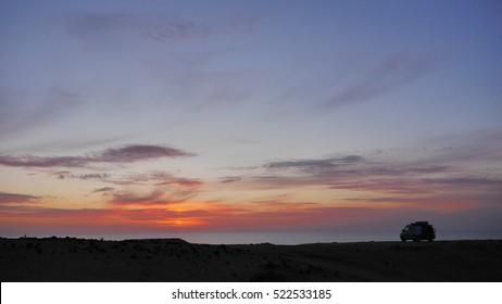 Camper van silhouette in Morocco
