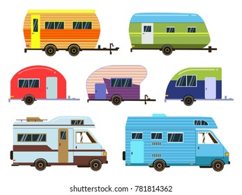 Campers cars set. Different resort trailers. pictures in flat style. Travel trailer caravan, illustration of car home truck