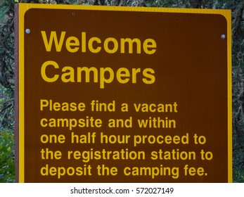 Campers Welcome Sign with Registration Rules