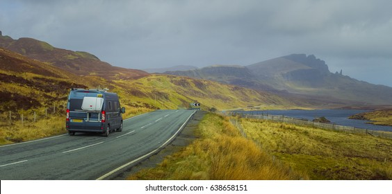 Campervan driving on highland road towards Old Man Of Storr on the Isle of Skye, Scotland