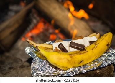 Campfire Banana Smores