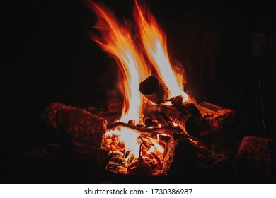 Campfire burning in the night - Shutterstock ID 1730386987