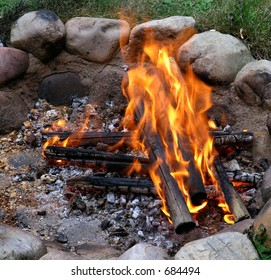 Campfire in fireplace