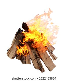 Campfire isolated on white background. Closeup of a pile of firewood burning with orange and yellow flames.