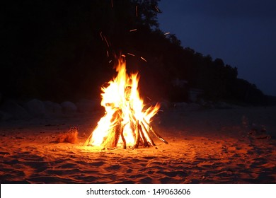 Campfire on the beach in the summer