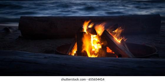 Campfire On The Beach. Campfire at the beach on a warm summer night. Upper Peninsula. Michigan