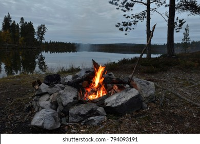 Campfire on a evening in sweden