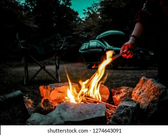 Campfire In The Woods - The Campfire is blazing as we sit under the stars under a beautifully clear sky. Car Camping in the middle of the forest. The Wye Valley, near the Forest Of Dean.