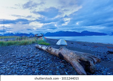 The campground at Homer Spit before sunrise. Homer is a town on the north side of the entrance to Kachemak Bay from Cook Inlet, south of Anchorage, Alaska, USA.