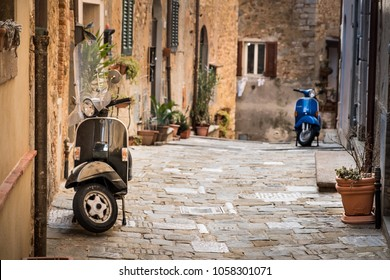 Campiglia Marittima, Province of Livorno in the Italian region Tuscany, located about 100 kilometers from Florence, italian vespa