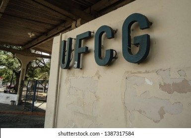 Campina Grande, Paraíba/Brazil - April 29, 2019: Acronym of the Federal University of Campina Grande, UFCG, on a wall. This image was taken at the UFCG entrance in Campina Grande in the morning.