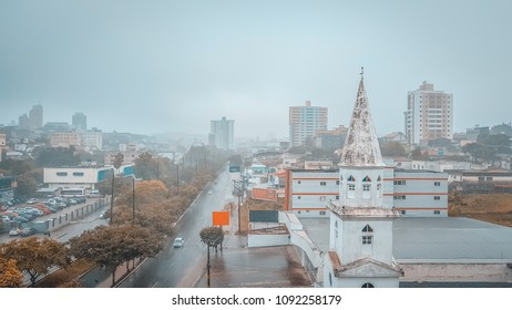 Campina Grande, Paraíba, Brazil. April 23, 2018. View of the horizon of Campina Grande on a day of heavy rain in the city.