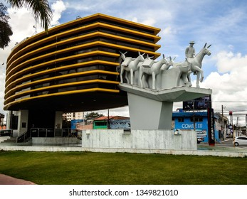 Campina Grande, Paraíba/Brazil - March 23, 2019: monument made in honor of the Tropeiros da Borborema, in the digital museum of Campina Grande, Paraíba, Brazil.