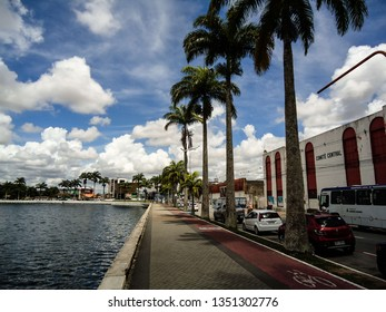 Campina Grande, Paraíba/Brazil - March 23, 2019: Lagoa called, Açude Velho, in the city of Campina Grande, in Paraíba, Northeast Brazil. This lagoon is located in the center of the city.