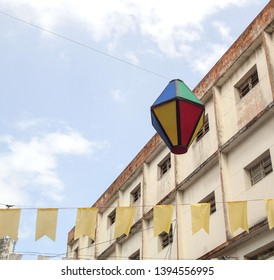 Campina Grande, Paraíba/Brazil - May 9, 2019: Balloon of St. John in the background of the image that was made in the center of the city of Campina Grande, Paraíba, Brazil.