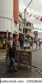 Campina Grande, Paraíba/Brazil - May 9, 2019: Center of the city of Campina Grande, Paraíba, Brazil with the typical decoration of the feasts of St. John that take place in the month of June.