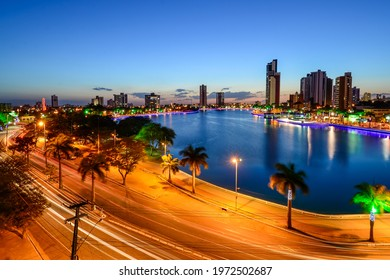 Campina Grande, Paraiba, Brazil on December 12, 2013. Night view of the old weir with buildings in the city center in the background. - Shutterstock ID 1972502687