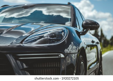 Campina, Romania - June 5 2020: Porsche Macan Turbo front end, grill, headlights and wheel details