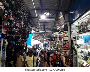 CAMPINAS, BRAZIL 05 JANUARY 2019: streets and avenues in the center of Campinas São Paulo Brazil, showing the people and shops in the commercial center.