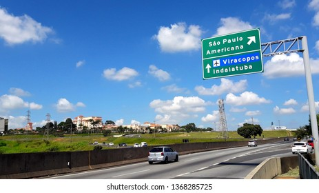 CAMPINAS, BRAZIL - APRIL 05, 2019: The Trevo Engineer Sérgio Motta is one of the main trunks of Campinas, in it is the main exit to São Paulo, and the Airport of Viracopos, Brazil.
