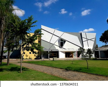 """CAMPINAS, BRAZIL - APRIL 07, 2019: The Municipal Theater """"José de Castro Mendes"""", known as the Teatro Castro Mendes, is currently the largest public theater in the city of Campinas, in the state of sp"""
