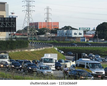 CAMPINAS, BRAZIL - AUGUST 01, 2018: Santos Dumont Highway - one of the stretches of the state highway SP-75, which connects Campinas to the Viracopos, and extends with other nomenclatures to Sorocaba.