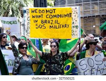 CAMPINAS, BRAZIL - AUGUST 16, 2015: Anti-government protests in Brazil, asking for Dilma Roussef's impeachment over corruption scandals, rising inflation and economy in crisis.