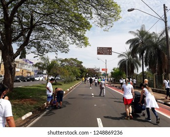 """CAMPINAS, BRAZIL DECEMBER 01, 2018: The area popularly known as """"Taquaral Lagoon"""" is one of the most important leisure areas of the city of Campinas, very good for hiking."""