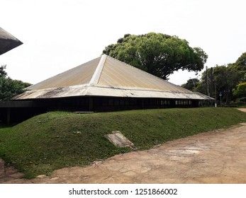 CAMPINAS, BRAZIL DECEMBER 01, 2018: The Planetarium of Campinas is located inside the Parque Portugal, known as Taquaral Lagoon, one of the main tourist attractions in Campinas, Brazil