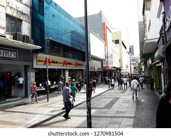 CAMPINAS, BRAZIL DECEMBER 11, 2018: Rua 13 de Maio - Centro, Campinas - SP, a street more known in Campinas with large stores and shopping centers.