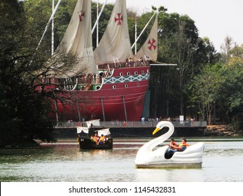 "CAMPINAS, BRAZIL - JULY 15, 2018: Taquaral Park The area popularly known as ""Lagoa do Taquaral"" is one of the most important leisure areas of the city of Campinas."