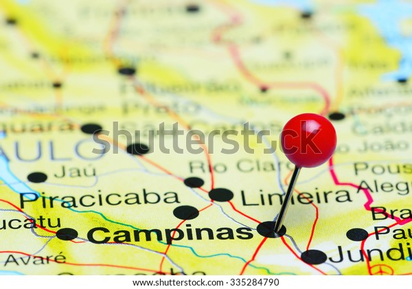 Campinas pinned on a map of Brazil
