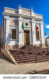 Campinas, Sao Paulo, Brazil, April 25,2015. Facade of the Lavoro e Progresso Italian Society Building in the District of Sousas, built in the year 1894 in Campinas