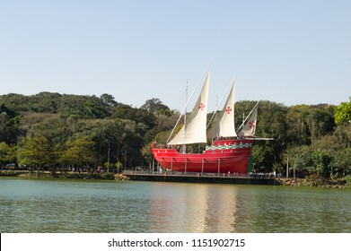 CAMPINAS, SAO PAULO, BRAZIL - AUGUST 22, 2015 - Taquaral Park or Portugal lake, Lagoa do Taquaral, replic of a caravel