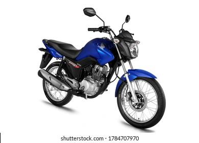 campinas, sao paulo / brazil - july 31, 2013: motorcycle Honda CG Fan 125 ESDi is seen in the city of Campinas.