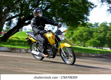 campinas, sao paulo / brazil - july 31, 2013: motorcycle Honda CG Fan 125 is seen in the city of Campinas.