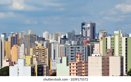 Campinas, SP/ Brazil  cistyscape closeup with many buildings against blue sky on a sunny day