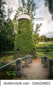 Campinas / SP / Brazil - December 23, 2018: small park with windmill and bridge at the 'Swiss Park' neighborhood