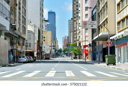 Campinas, SP - Brazil downtown. City Avenue in a sunny day