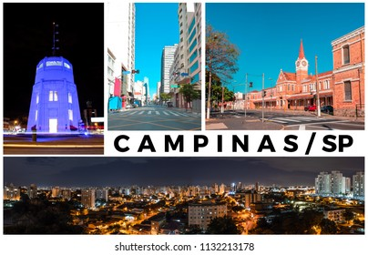 Campinas, SP/ Brazil famous landmarks. Photo Collage