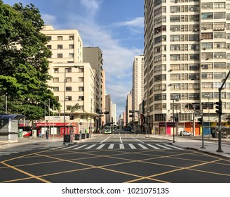 Campinas, SP/ Brazil - February 04, 2018: 'Francisco Glicério' avenue with low movement on a Sunday morning