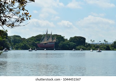 Campinas, SP/ Brazil - March 11, 2018: People having fun riding on pedal boats by the Caravel replica monument